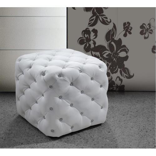 Divani Casa Nina - Modern Eco-Leather Pouf With Tufted Acrylic Crystals