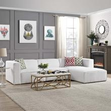 Mingle 4 Piece Upholstered Fabric Sectional Sofa Set in White