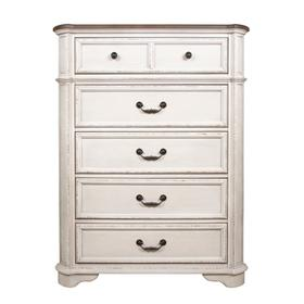 5 Drawer Chest, Available in Antique White only.
