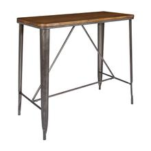 "42"" Matte Industrial Steel Counter Height Table With Ash Wood Top"