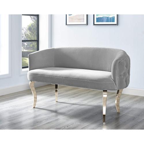Tov Furniture - Adina Grey Velvet Loveseat with Gold Legs