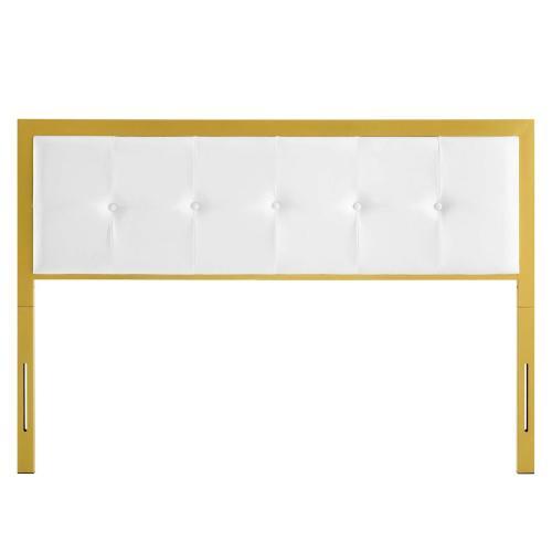 Teagan Tufted King Performance Velvet Headboard in Gold White