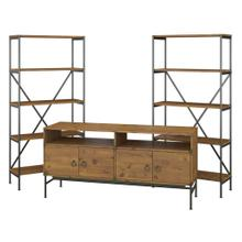 Ironworks 60W TV Stand with Bookcases - Vintage Golden Pine