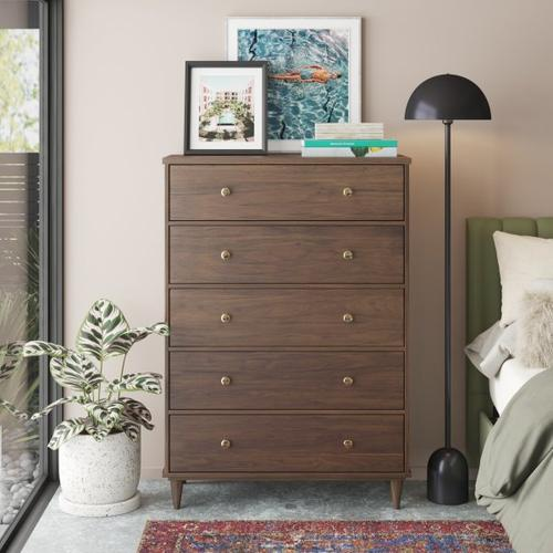 Accentrics Home - Mid Century Five Drawer Chest in Walnut - KD (Carton 1 of 2)