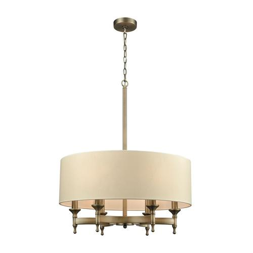 Pembroke 6-Light Chandelier in Brushed Antique Brass with Light Tan Fabric Shade
