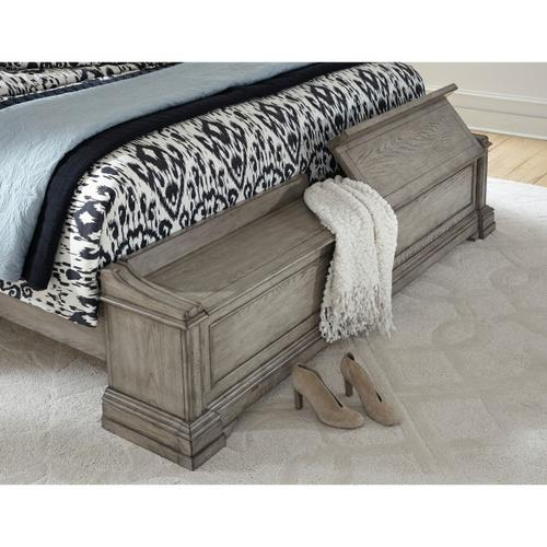 Madison Ridge Queen Panel Blanket Chest Footboard and Slats in Heritage Taupe