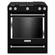 View Product - 30-Inch 5 Burner Gas Convection Slide-In Range with Baking Drawer - Black
