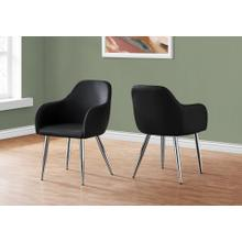 "DINING CHAIR - 2PCS / 33""H / BLACK LEATHER-LOOK / CHROME"