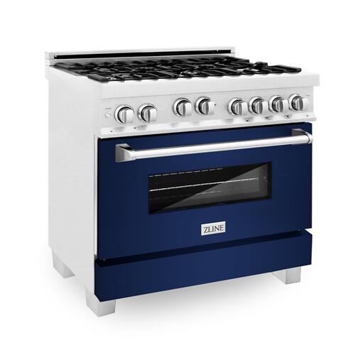 """Zline Kitchen and Bath - ZLINE 36"""" Professional 4.6 cu. ft. Gas on Gas Range in DuraSnow® Stainless Steel with Color Door Options (RGS-SN-36) [Color: Blue Gloss]"""