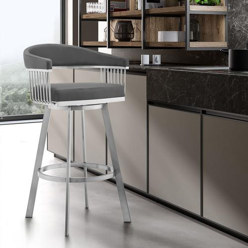 "Chelsea 26"" Gray Faux Leather and Brushed Stainless Steel Swivel Bar Stool"
