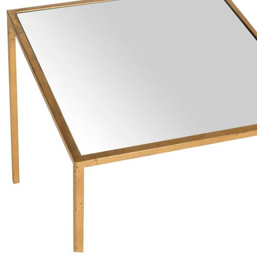 Kiley Gold Leaf Mirror Top Accent Table - Gold / Mirror Top