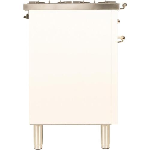 Nostalgie 48 Inch Dual Fuel Liquid Propane Freestanding Range in Antique White with Brass Trim