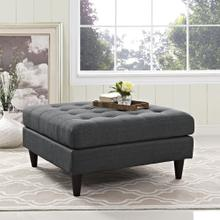 See Details - Empress Upholstered Fabric Large Ottoman in Gray