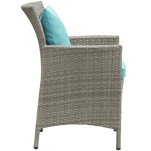 Conduit 5 Piece Outdoor Patio Wicker Rattan Dining Set in Light Gray Turquoise