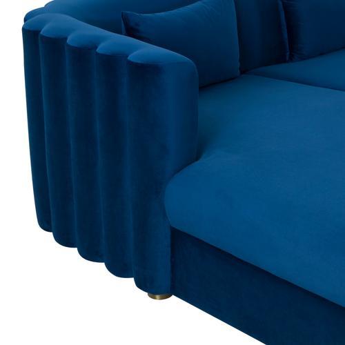 Tov Furniture - Callie Navy Velvet Sectional - LAF