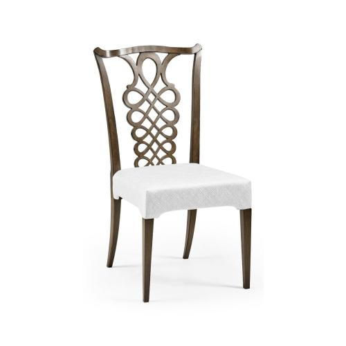 Buckingham Bleached Mahogany Dining Side Chair with Ribbon Back, Upholstered in COM
