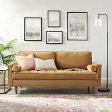 Valour Performance Velvet Sofa in Cognac