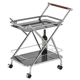 Turner 2-Tier Bar Cart in Chrome/Black