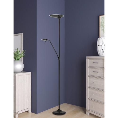 Treviso integrated Dimmable LED Metal Torchiere With 5W Gooseneck Reading Lamp
