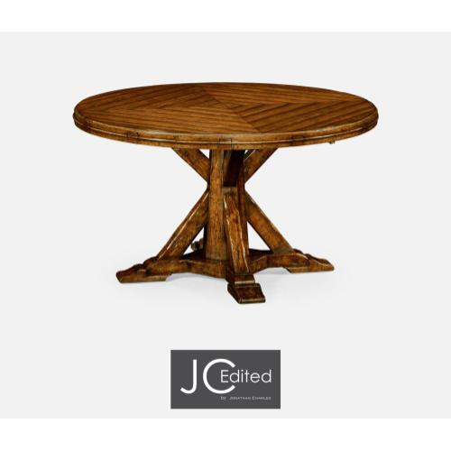 Country walnut parquet round-to-oval dining table