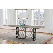 See Details - Solange Concrete and Black Metal Rectangular Dining Table