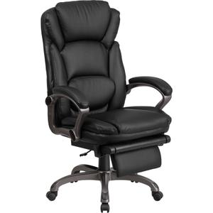 Gallery - High Back Black LeatherSoft Executive Reclining Ergonomic Swivel Office Chair with Outer Lumbar Cushion and Arms