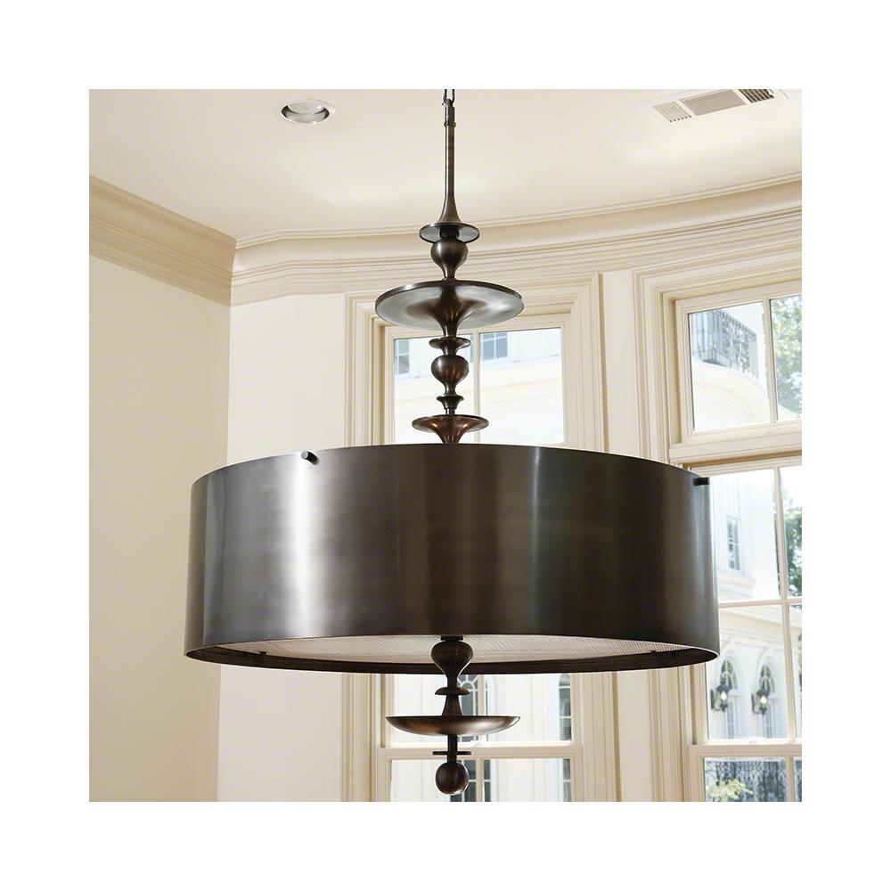 Turned Pendant Chandelier-Antique Bronze-Sm