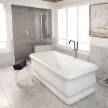 See Details - Free-standing soaking bathtub made of luster white acrylic with an overflow and polished chrome drain, net weight 133 lbs, water capacity 84.5 gal,