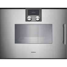 "200 series 200 series Combi-steam oven Full glass door in Gaggenau Metallic Width 24"" (60 cm) Left-hinged Controls on top"