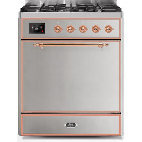 Majestic II 30 Inch Dual Fuel Natural Gas Freestanding Range in Stainless Steel with Copper Trim