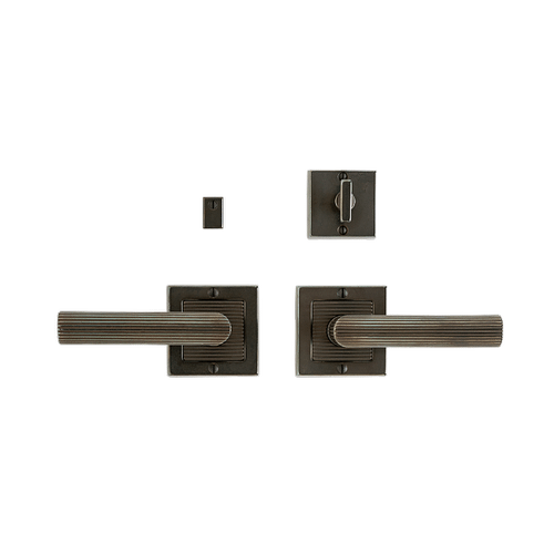 """Rocky Mountain Hardware - Flute Privacy Set - 3"""" x 3"""" Silicon Bronze Brushed"""