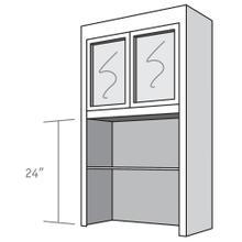 View Product - Desk Top Unit, 2 Glass Doors, Open Shelves, and 2 adjustable shelves