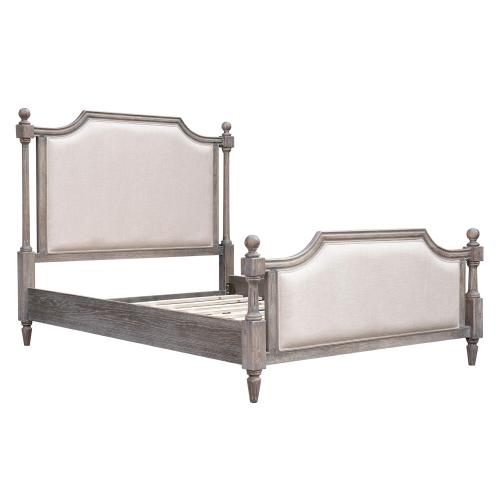 Queen Upholstered Panel Bed Frame - Fawn Collection