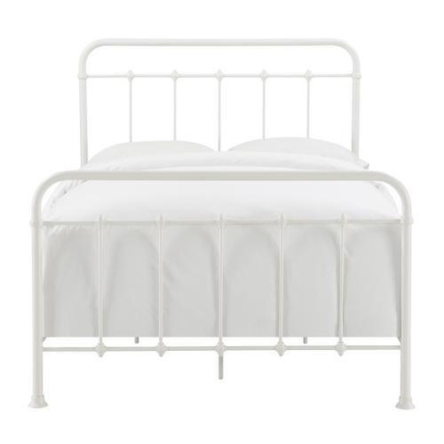 Curved Corner Metal Full Bed in White