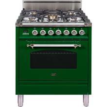 See Details - Nostalgie 30 Inch Gas Liquid Propane Freestanding Range in Emerald Green with Chrome Trim