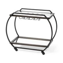 See Details - Chriselle Black Metal And Glass Two Tier Bar Cart