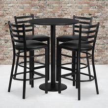 Product Image - 30'' Round Black Laminate Table Set with Round Base and 4 Ladder Back Metal Barstools - Black Vinyl Seat
