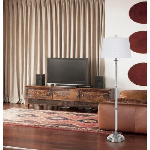 150W 3 way Ruston crystal/metal floor lamp with pleated hardback shade