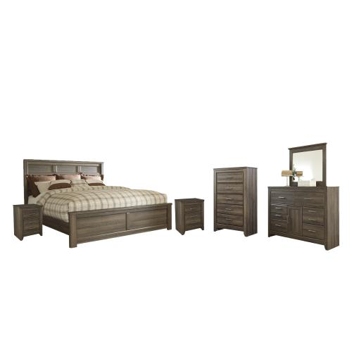 Product Image - California King Panel Bed With Mirrored Dresser, Chest and 2 Nightstands
