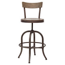 See Details - Traditional Solid Barstool with Adjustable Base