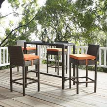 Conduit Bar Stool Outdoor Patio Wicker Rattan Set of 4 in Brown Orange