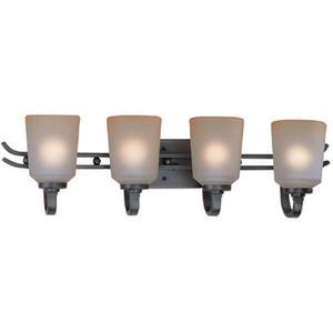 4-lite Wall Lamp, Aged Copper W/L.AMBER Glass Shd, A 60wx4
