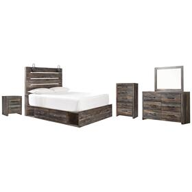 Twin Panel Bed With 2 Storage Drawers With Mirrored Dresser, Chest and Nightstand