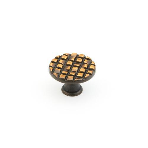 "Mosaic, Small Round Knob, 1-1/8"" diameter, French Antique Bronze finish"