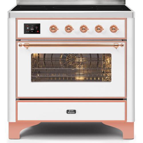 Majestic II 36 Inch Electric Freestanding Range in White with Copper Trim