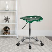 View Product - Vibrant Green Tractor Seat and Chrome Stool