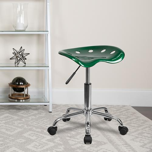 Flash Furniture - Vibrant Green Tractor Seat and Chrome Stool