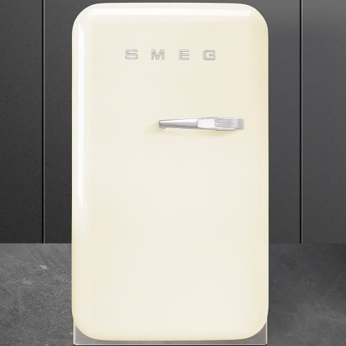 "Approx 16"" 50's Retro Style Mini Refrigerator, Cream, Left hand hinge"