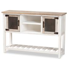See Details - Baxton Studio Deacon Rustic Industrial Farmhouse Weathered Two-Tone White and Oak Brown Finished Wood 2-Door Dining Room Sideboard Buffet