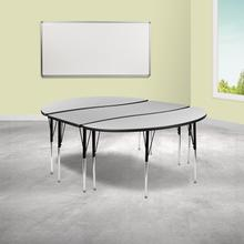 """See Details - 3 Piece 86"""" Oval Wave Flexible Grey Thermal Laminate Activity Table Set - Standard Height Adjustable Legs"""